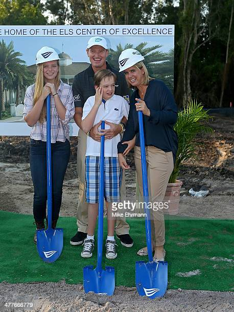 Ernie Els daughter Samantha son Ben and wife Liezl break ground for the Els Center for Autism prior to the Autism Proam at The PGA National Golf Club...