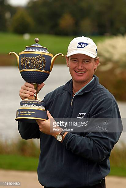 Ernie Els holds the trophy for the World Golf Championships-American Express Championship after the final round at Mount Juliet Conrad. October 3,...