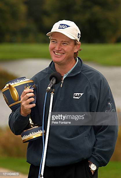 Ernie Els holds the trophy for the World Golf ChampionshipsAmerican Express Championship after the final round at Mount Juliet Conrad October 3 2004...