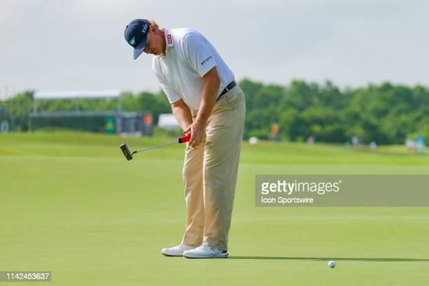 Ernie Els misses his birdie putt on the ninth green during the first round of the ATT Byron Nelson on May 9 2019 at Trinity Forest Golf Club in...