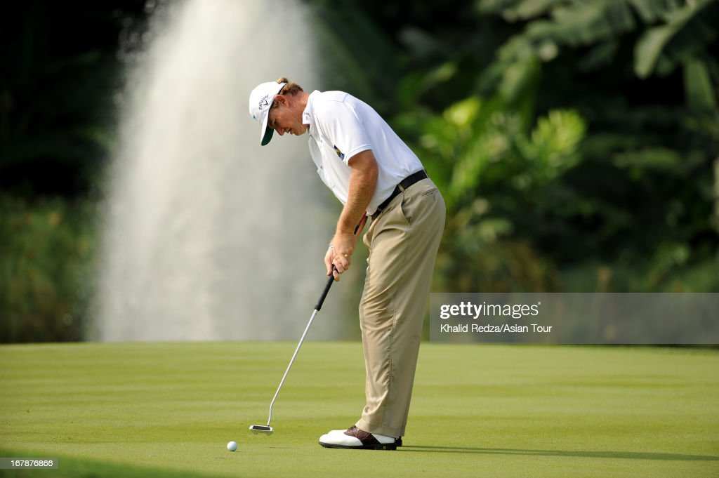 Ernie Els of South Africa a shot during round one of the Indonesian Masters at Royale Jakarta Golf Club on May 2, 2013 in Jakarta, Indonesia.