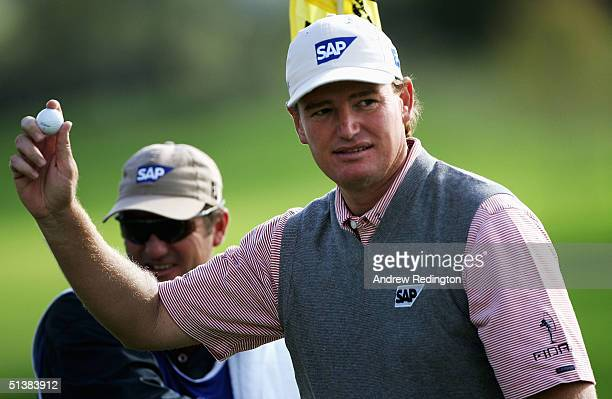 Ernie Els of South Africa acknowledges the crowd after his birdie on the fifth hole during the third round of the American Express Championship on...