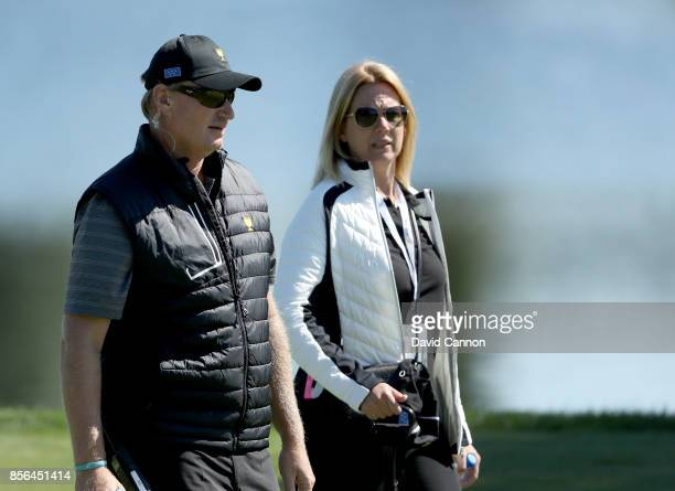 Ernie Els of South Africa and an assistant captain for the International Team with his wife Liezl Els during the final day singles matches matches in...