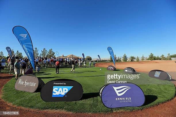 Ernie Els of South Africa and Claude Harmon during their clinic at the Rio Secco Golf Club during the Els for Autism 2012 Golf Challenge Grand Final...
