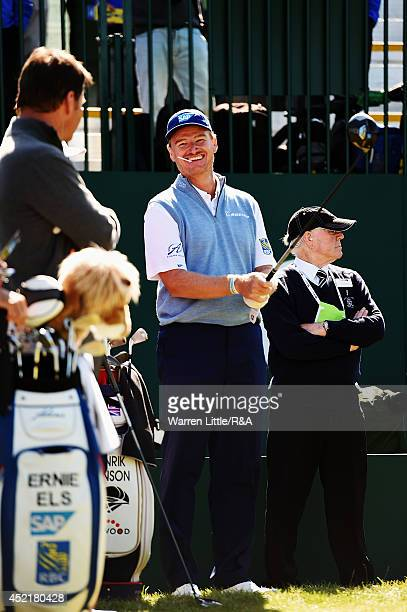 Ernie Els of South Africa and Sir Nick Faldo of England share a joke before their practice round prior to the start of The 143rd Open Championship at...