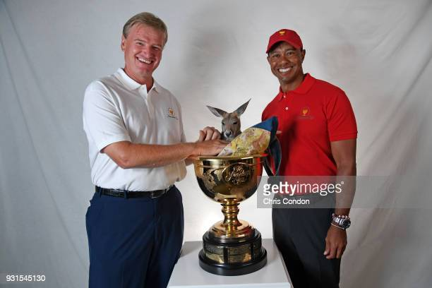 Ernie Els of South Africa and Tiger Woods of the United States are named captains for the 2019 President's Cup in Melbourne Australia prior to the...