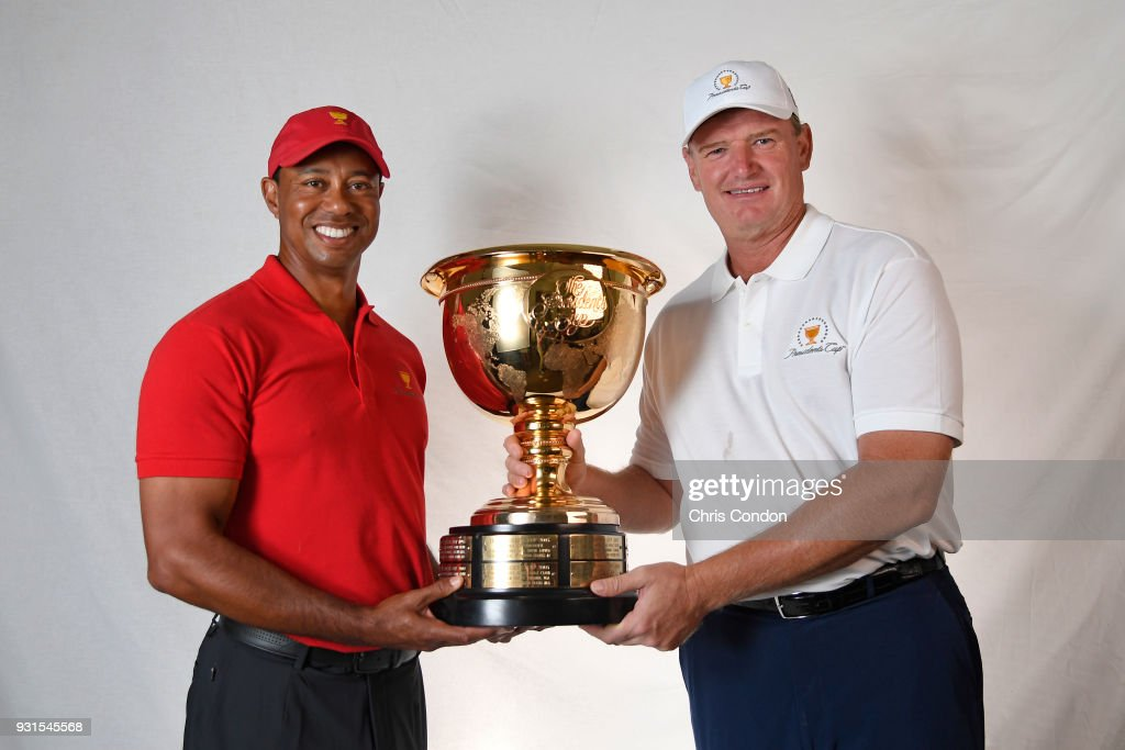 Ernie Els of South Africa and Tiger Woods of the United States are named captains for the 2019 President's Cup in Melbourne, Australia prior to the Arnold Palmer Invitational presented by MasterCard at Bay Hill Club and Lodge on March 13, 2018 in Orlando, Florida.