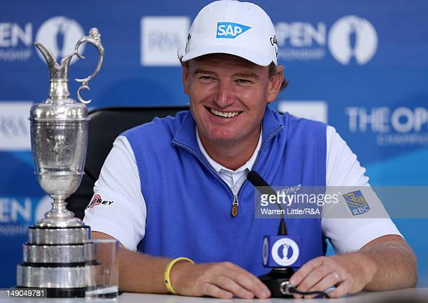 Ernie Els of South Africa answers questions from the media at a press conference following his victory at the end of the final round of the 141st...