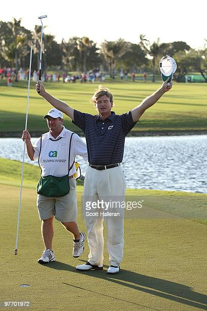 Ernie Els of South Africa celebrates after winning the final round of the 2010 WGCCA Championship at the TPC Blue Monster at Doral on March 14 2010...