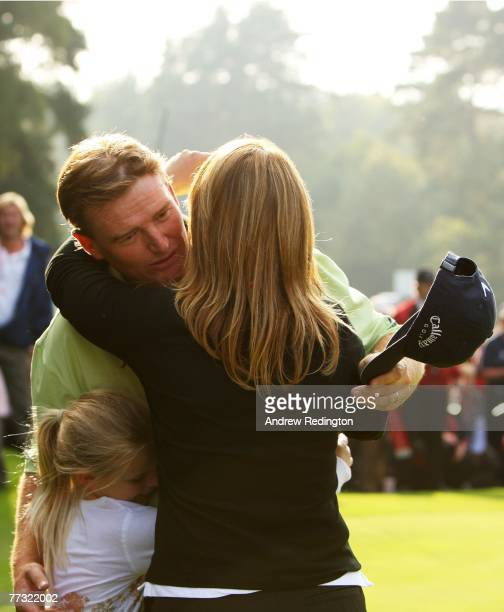 Ernie Els of South Africa celebrates with his daughter Samantha and wife Liezl after winning the HSBC World Match Play Championship at The Wentworth...