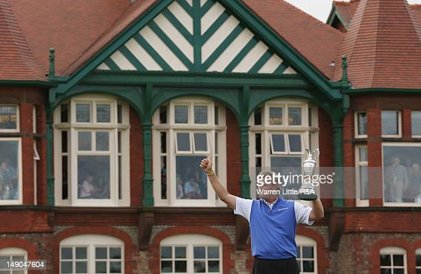 Ernie Els of South Africa celebrates with the Claret Jug following his victory during the final round of the 141st Open Championship at Royal Lytham...