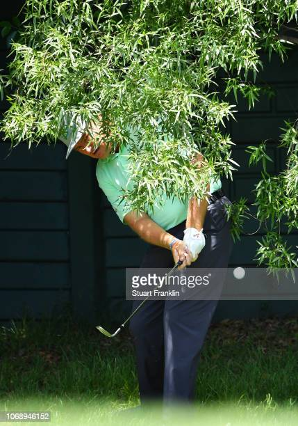 Ernie Els of South Africa chips from the rough during day one of the South African Open at Randpark Golf Club on December 6 2018 in Johannesburg...