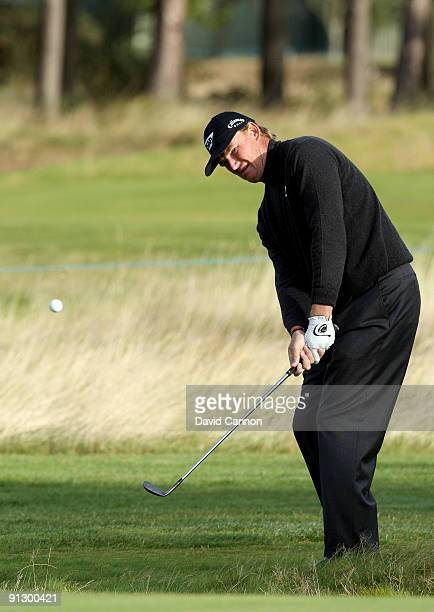 Ernie Els of South Africa chips onto the 12th green during the first round of The Alfred Dunhill Links Championship at Carnoustie Golf Club on...