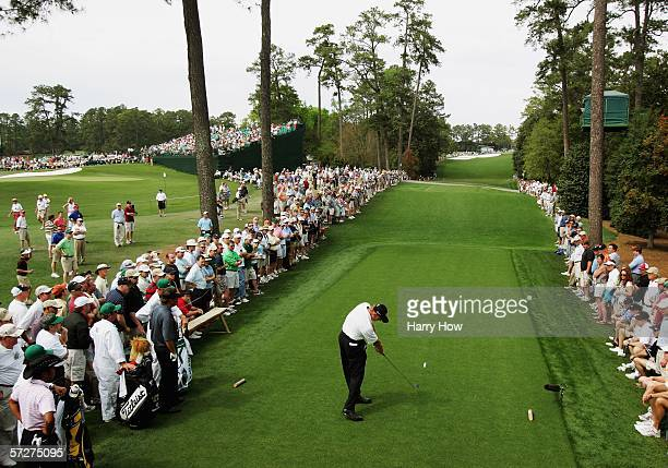 Ernie Els of South Africa drives off the 18th green during the second round of The Masters at the Augusta National Golf Club on April 7 2006 in...