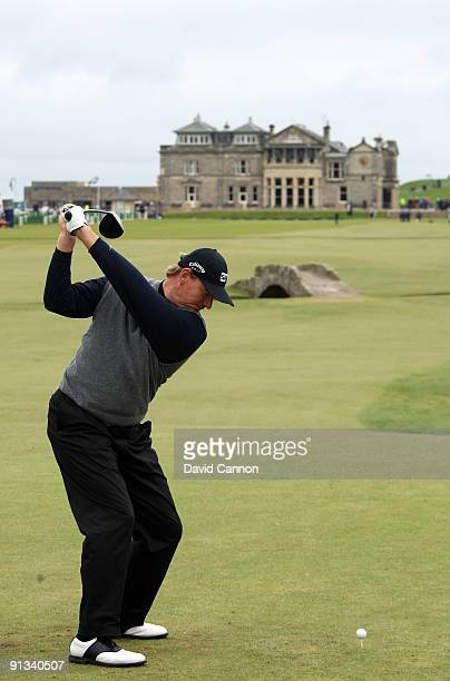 Ernie Els of South Africa drives off the 18th tee during the second round of The Alfred Dunhill Links Championship at The Old Course on October 2...