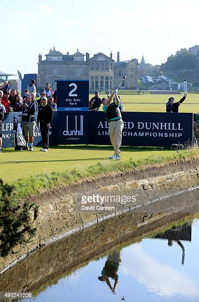 Ernie Els of South Africa drives off the second tee during final round of the 2015 Alfred Dunhill Links Championship at The Old Course on October 4...