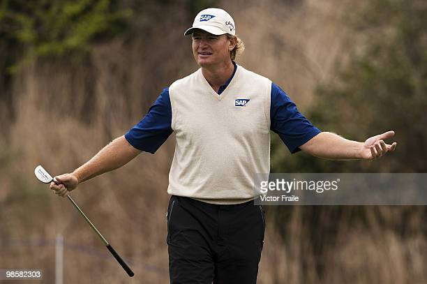 Ernie Els of South Africa gestures during the pro am of the Ballantine's Championship at Pinx Golf Club on April 21 2010 in Jeju island South Korea