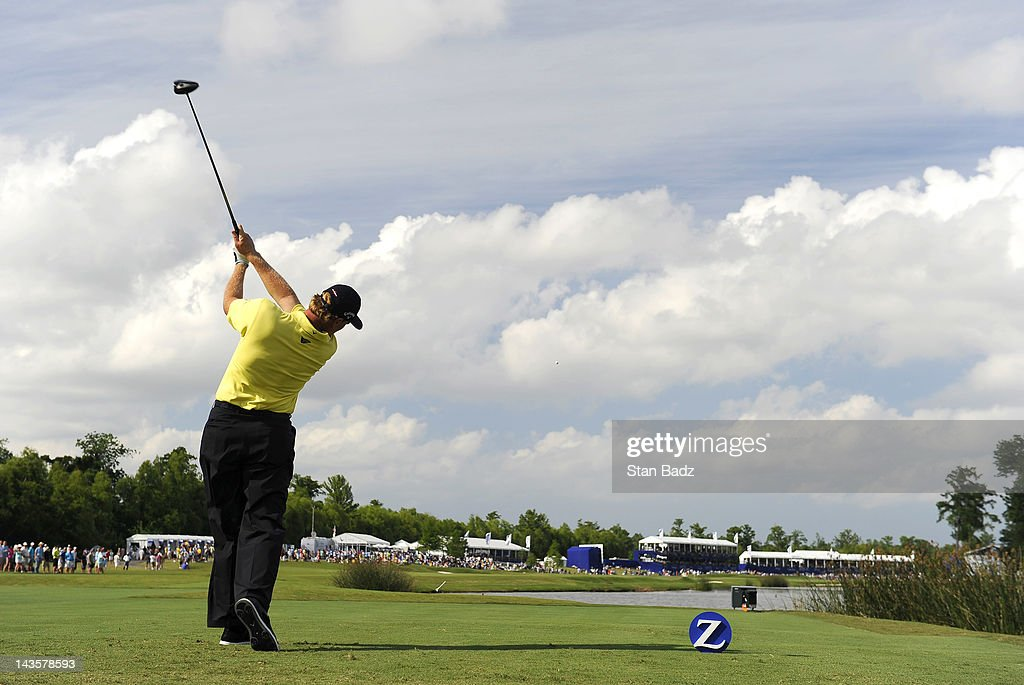 Ernie Els of South Africa hits a drive on the 18th hole during the final round of the Zurich Classic of New Orleans at TPC Louisiana on April 29, 2012 in New Orleans, Louisiana.