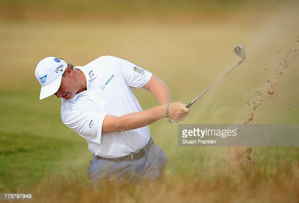 Ernie Els of South Africa hits a shot on the 5th hole during the first round of the 142nd Open Championship at Muirfield on July 18, 2013 in Gullane,...