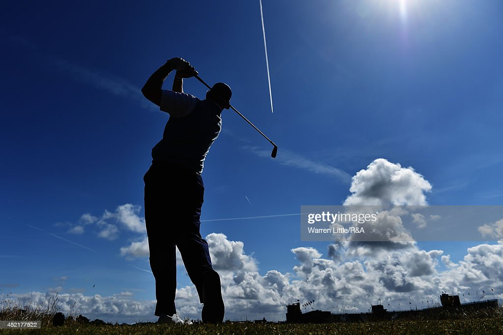 Ernie Els of South Africa hits a tee shot during a practice round prior to the start of The 143rd Open Championship at Royal Liverpool on July 15, 2014 in Hoylake, England.