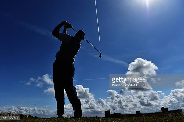 Ernie Els of South Africa hits a tee shot during a practice round prior to the start of The 143rd Open Championship at Royal Liverpool on July 15...