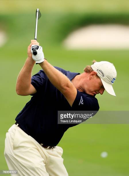 Ernie Els of South Africa hits his approach shot on the second hole during the final round of The Barclays the inaugural event of the new PGA TOUR...