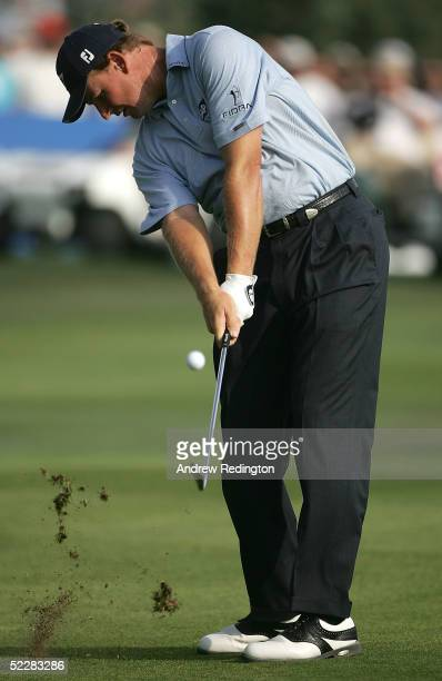 Ernie Els of South Africa hits his second shot on the 16th hole during the final round of the 2005 Dubai Desert Classic on the Majilis Course on...