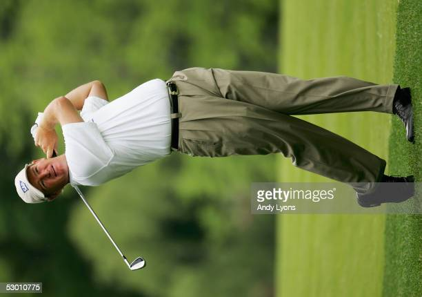 Ernie Els of South Africa hits his second shot on the 9th hole during the first round of The Memorial on June 2, 2005 at Muirfield Village Golf Club...