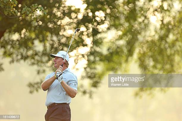 Ernie Els of South Africa hits his second shot on the first hole during the second round of the BMW Championship at Crooked Stick Golf Club on...