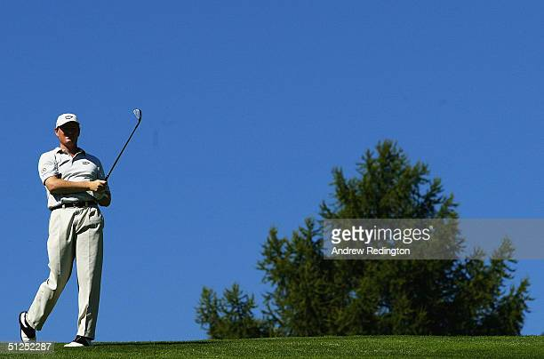 Ernie Els of South Africa hits his second shot on the twelfth hole, during the Pro-Am for The Omega European Masters at Crans-Sur-Sierre Golf Club on...