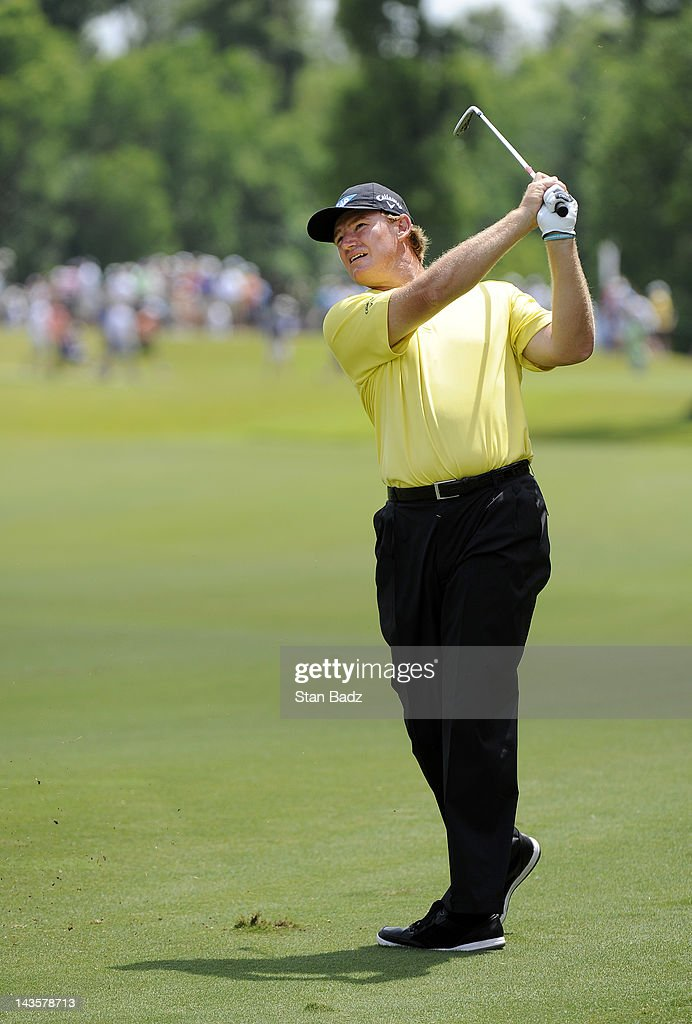 Ernie Els of South Africa hits to the sixth green during the final round of the Zurich Classic of New Orleans at TPC Louisiana on April 29, 2012 in New Orleans, Louisiana.