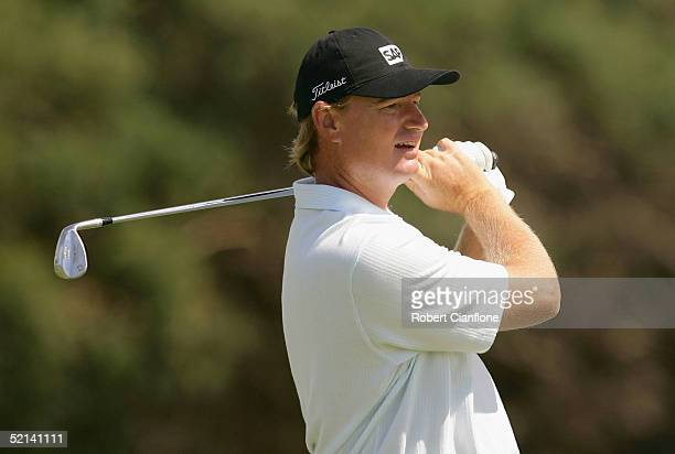 Ernie Els of South Africa in action during day four of the 2005 Heineken Classic at the Royal Melbourne Golf Club February 6 2005 in Melbourne...
