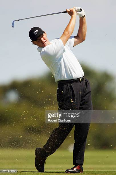 Ernie Els of South Africa in action during day four of the 2005 Heineken Classic at the Royal Melbourne Golf Club February 5 2005 in Melbourne...
