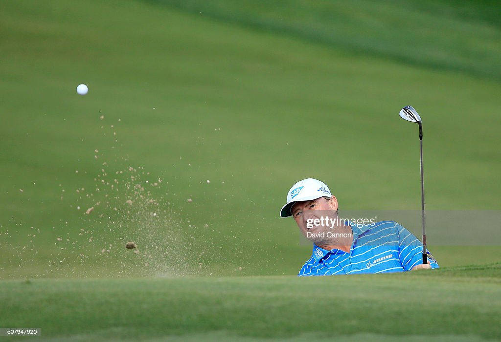 Ernie Els of South Africa in action during his practice round as a preview for the 2016 Omega Dubai Desert Classic on the Majlis Course at the Emirates Golf Club on February 2, 2016 in Dubai, United Arab Emirates.