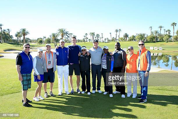 Ernie Els of South Africa is joined by Dommie Frazier the former NFL Quarter Back and Kevin Anderson the ATP tennis player as they pose for group...