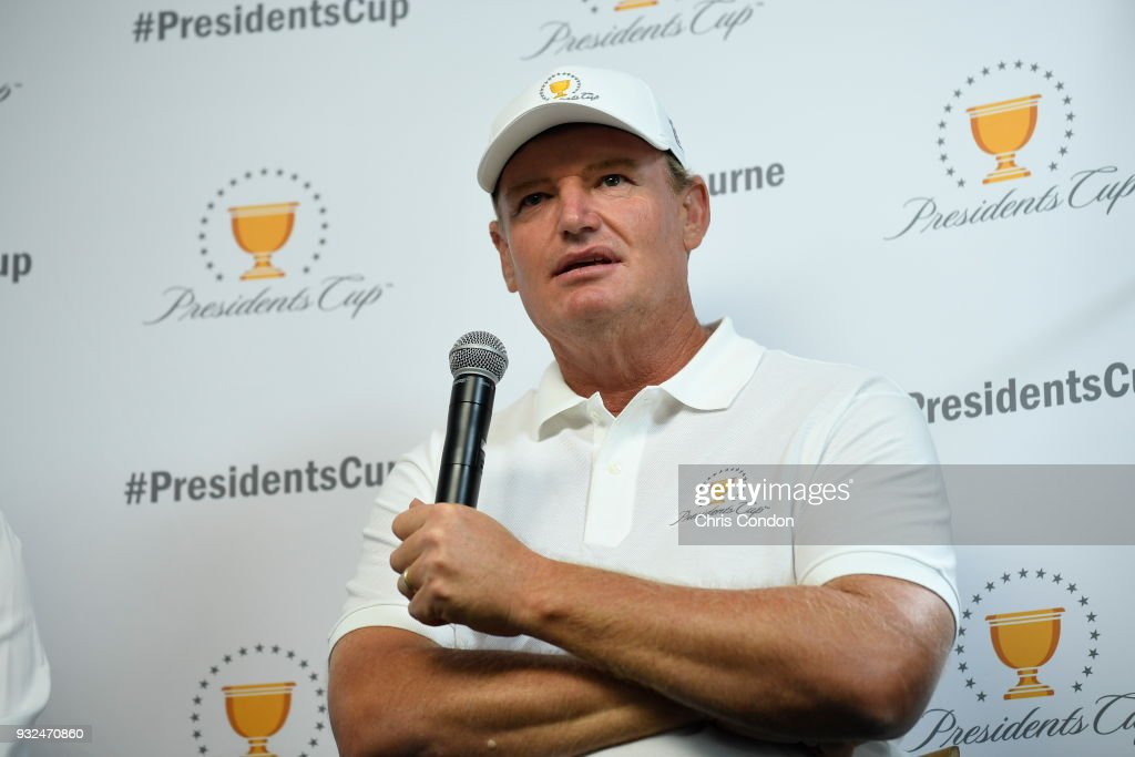Ernie Els of South Africa is named captain for the International team for the 2019 President's Cup in Melbourne, Australia prior to the Arnold Palmer Invitational presented by MasterCard at Bay Hill Club and Lodge on March 13, 2018 in Orlando, Florida. (Photo by Chris Condon/PGA TOUR)a.