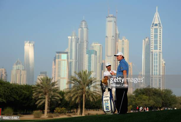 Ernie Els of South Africa is pictured on the 10th hole during the second round of the 2014 Omega Dubai Desert Classic on the Majlis Course at the...