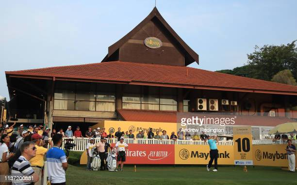 Ernie Els of South Africa is pictured on the tenth tee on Day One of the Maybank Championship at Saujana Golf Country Club Palm Course on March 21...