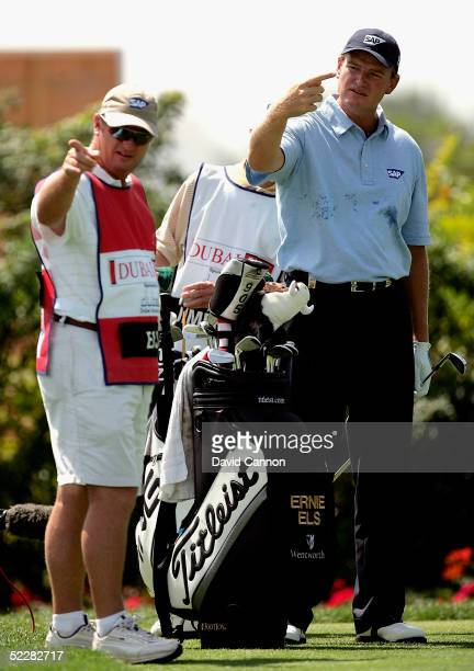 Ernie Els of South Africa is upset by local photographers on the scond tee during the final round of the 2005 Dubai Desert Classic on the Majilis...