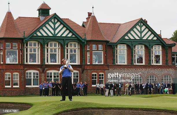 Ernie Els of South Africa kisses the Claret Jug following his victory during the final round of the 141st Open Championship at Royal Lytham St Annes...
