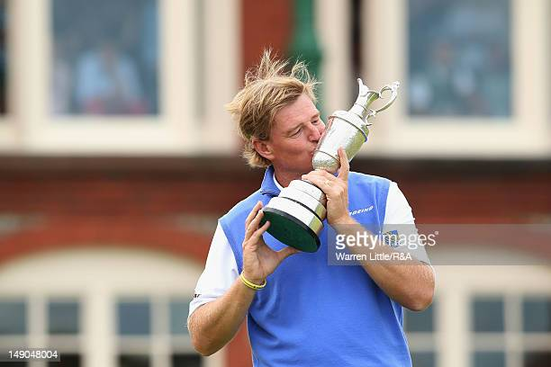 Ernie Els of South Africa kisses the Claret Jug following his victory during the final round of the 141st Open Championship at Royal Lytham & St....