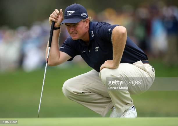Ernie Els of South Africa lines up a putt during the third round of the 108th US Open at the Torrey Pines Golf Course on June 14 2008 in San Diego...