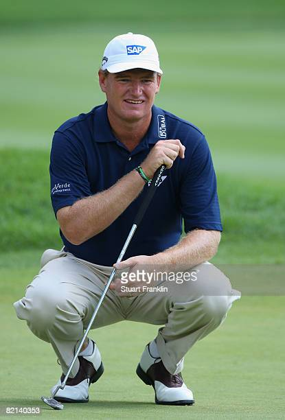 Ernie Els of South Africa lines up his putt on the 13th hole during first round of the World Golf Championship Bridgestone Invitational on July 31,...