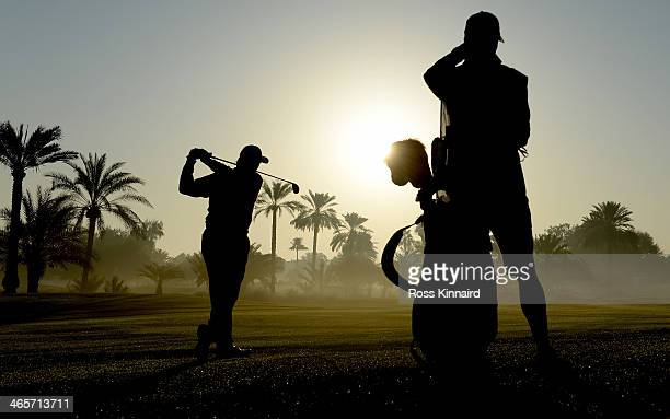 Ernie Els of South Africa on the 10th hole during the proam event prior to the Omega Dubai Desert Classic on the Majlis Course on January 29 2014 in...