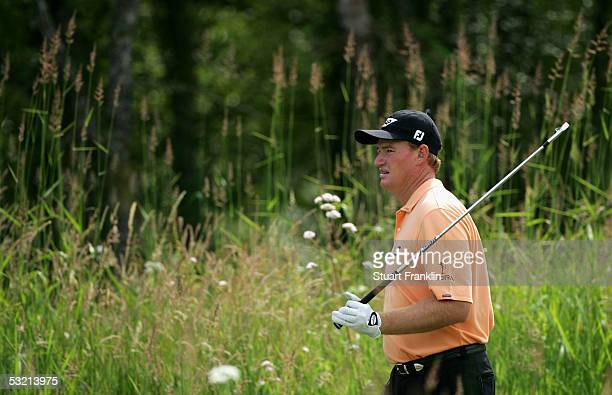 Ernie Els of South Africa on the 11th hole during the second round of The Barclays Scottish Open at The Loch Lomond Golf Club on July 8 in Loch...