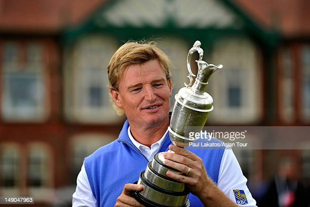 Ernie Els of South Africa pictured with the Claret Jug on the 18th green at Royal Lytham St Annes on July 22 2012 in Lytham St Annes England