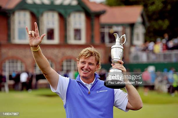 Ernie Els of South Africa pictured with the Claret Jug on the 18th green at Royal Lytham & St. Annes on July 22, 2012 in Lytham St Annes, England.