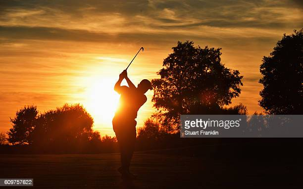 Ernie Els of South Africa plays a shot during the first round of the Porsche European Open at Golf Resort Bad Griesbach on September 22 2016 in...
