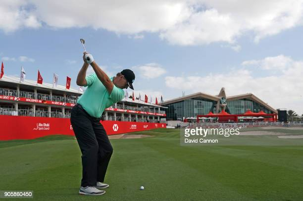 Ernie Els of South Africa plays a shot during the proam for the 2018 Abu Dhabi HSBC Golf Championship at the Abu Dhabi Golf Club on January 17 2018...