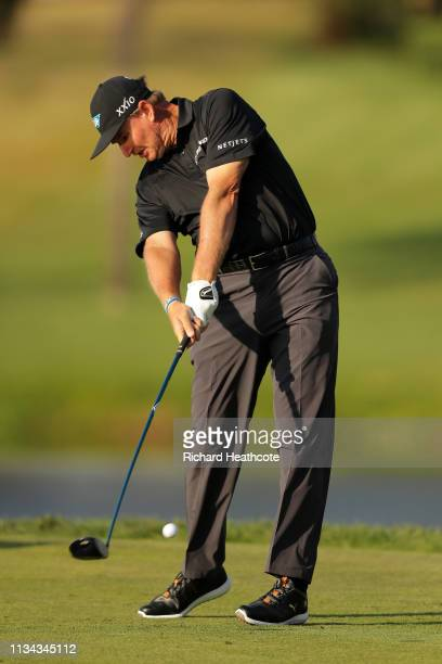 Ernie Els of South Africa plays a shot on the 16th tee during the first round of the Arnold Palmer Invitational Presented by Mastercard at the Bay...